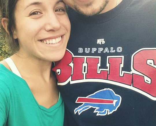 bachelor Matt with Buffalo Bills shirt and fiance Katie