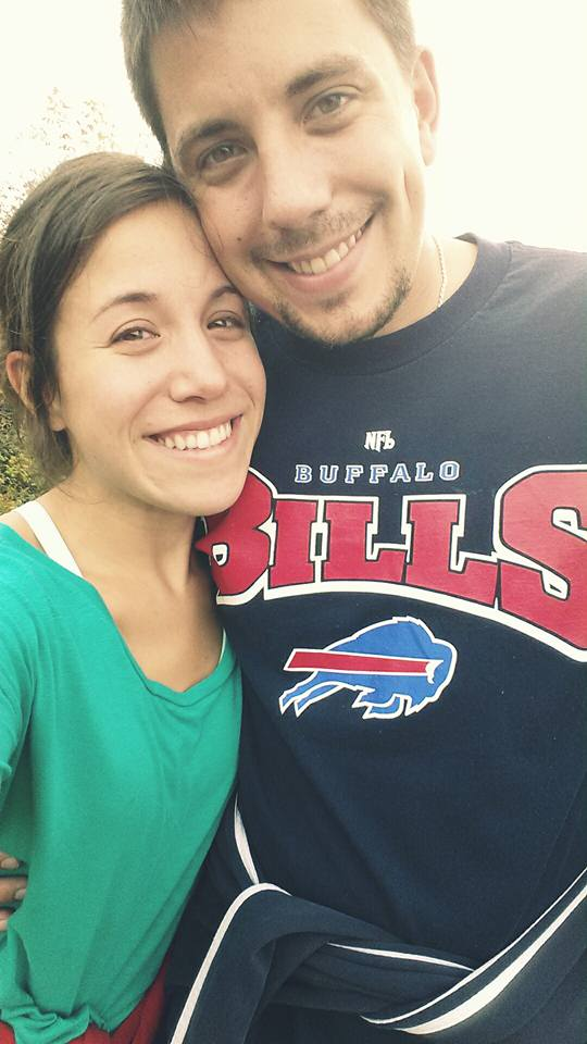 Bachelor Matt with Buffalo Bills shirt and fiancé Katie
