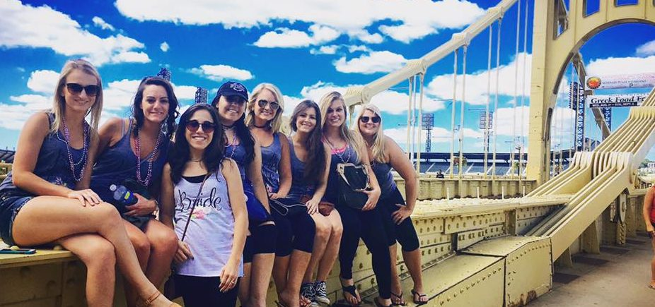 Bachelorette fun on Pittsburgh bridge