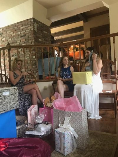 bride-to-be opening gifts