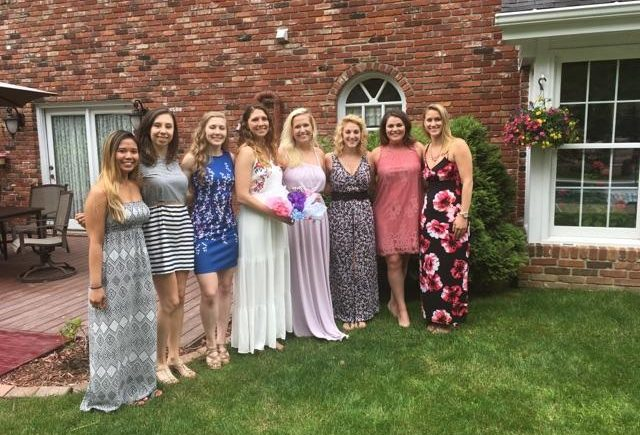 ladies dressed up for a bridal shower tea