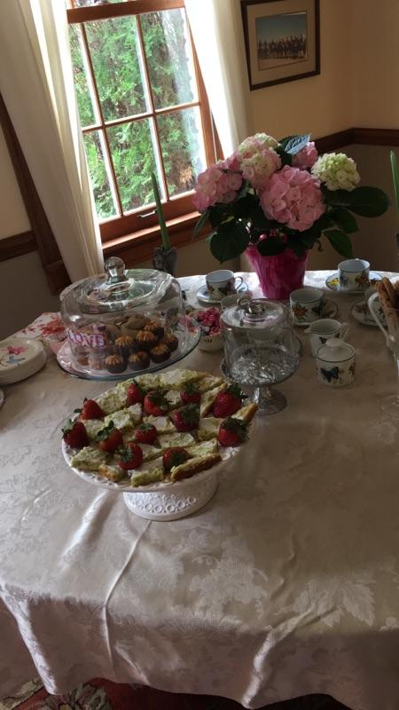 table with bridal tea delicacies
